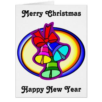Feliz Natal colorido grande Bels Cartão Comemorativo Grande