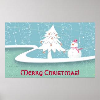 Feliz Natal com boneco de neve Poster