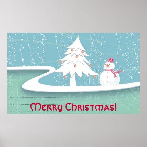 Feliz Natal com boneco de neve Posteres