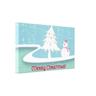 Feliz Natal com boneco de neve Impressão De Canvas Esticadas