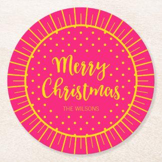 Feliz Natal cor-de-rosa vibrante do roteiro de Porta-copo De Papel Redondo