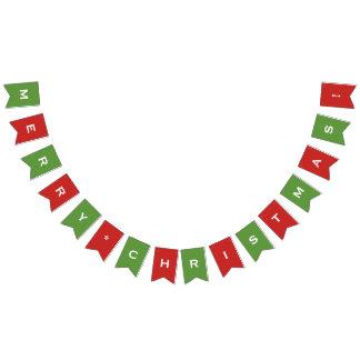 Feliz Natal customizável vermelho & bandeira verde