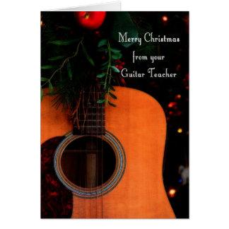 Feliz Natal da canção alegre do professor da guita Cartão Comemorativo