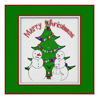 Feliz Natal da família dos bonecos de neve Impressão