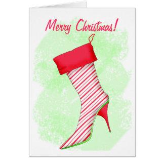 Feliz Natal da meia da bota do salto alto do Cartão Comemorativo