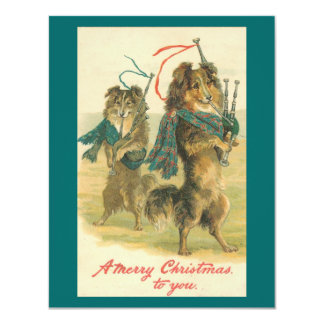 Feliz Natal de Collie* do *Mini do vintage! Convite Personalizados