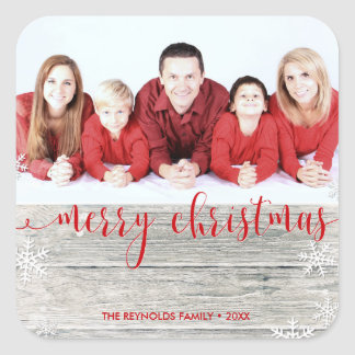 Feliz Natal de madeira rústico - etiqueta da foto