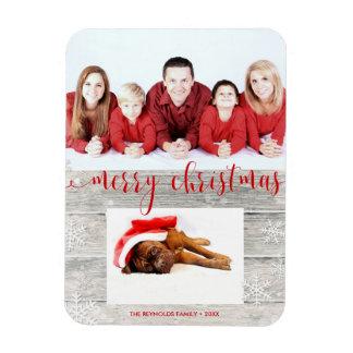 Feliz Natal de madeira rústico - ímã da foto