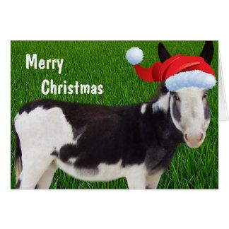 Feliz Natal do asno da fazenda Cartão