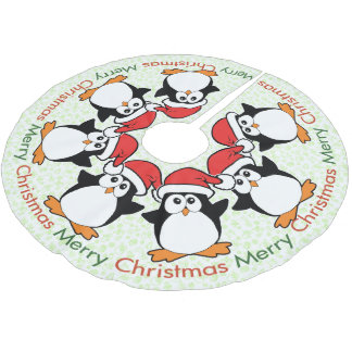 Feliz Natal dos pinguins do Natal Cobertura Para Árvore De Natal De Poliéster
