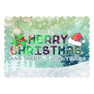 Feliz Natal e cartões do feliz ano novo Convites Personalizado