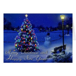Feliz Natal e feliz ano novo Cartão Comemorativo