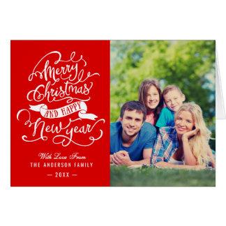 Feliz Natal e foto de família do feliz ano novo Cartão Comemorativo