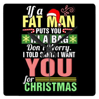 Feliz Natal e Papai Noel Relógio Quadrado
