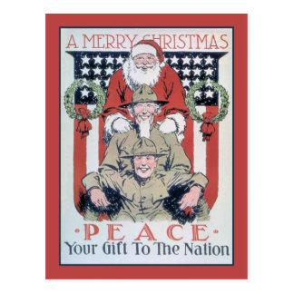 Feliz Natal e paz do vintage Cartoes Postais
