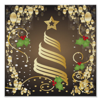 Feliz Natal Earthtone festivo Brown e ouro Poster