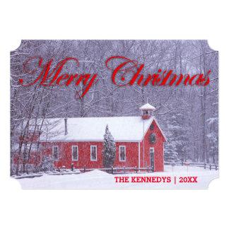 Feliz Natal - escola vermelha velha na queda de Convite 12.7 X 17.78cm