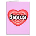 Feliz Natal. Eu amo Jesus. Coração de Jesus Cartoes