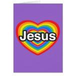 Feliz Natal. Eu amo Jesus. Coração de Jesus Cartões