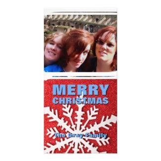 Feliz Natal feito sob encomenda da foto do brilho  Cartão Com Foto Personalizado