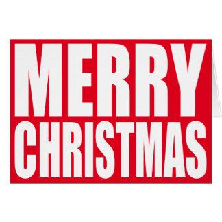 Feliz Natal grande do branco do bloco Cartão Comemorativo