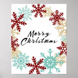 Feliz Natal - grinalda do floco de neve - poster