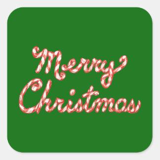 Feliz Natal listrado do bastão de doces Adesivo Quadrado