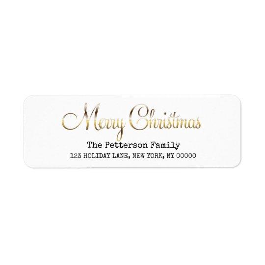 Feliz Natal no roteiro moderno do ouro Etiqueta Endereço De Retorno