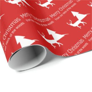 Feliz Natal nosso pescoço do papel de embrulho das