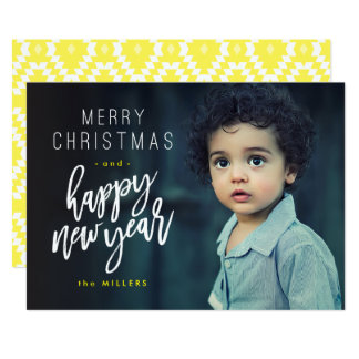 Feliz Natal, o feliz ano novo, cartão com fotos Convite 12.7 X 17.78cm