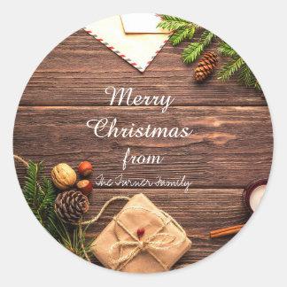 Feliz Natal Pinecones e etiquetas das árvores