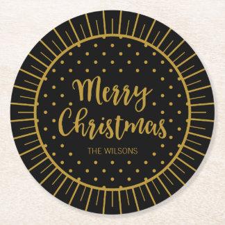 Feliz Natal preto elegante do roteiro de Starburst Porta-copo De Papel Redondo