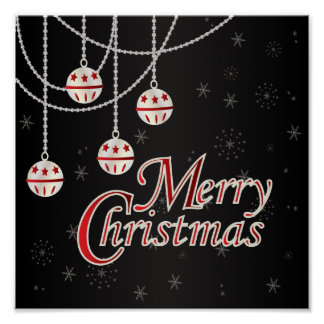 Feliz Natal preto, vermelho e branco brilhante Posters