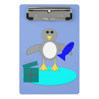 Feliz Natal que pesca a mini prancheta do pinguim