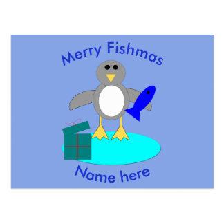 Feliz Natal que pesca o cartão do costume do