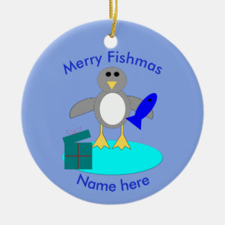 Feliz Natal que pesca o ornamento do costume do
