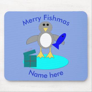 Feliz Natal que pesca o pinguim Mousepad