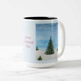Feliz Natal que pinta a caneca de café