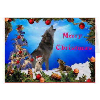 Feliz Natal que urra o cartão dos lobos