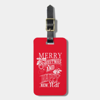 Feliz Natal retro & feliz ano novo Etiqueta De Bagagem