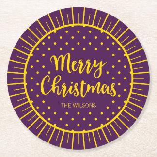 Feliz Natal roxo vibrante do roteiro de Starburst Porta-copo De Papel Redondo