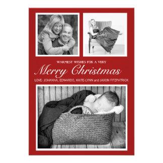 Feliz Natal triplo à moda simples do vermelho da Convite Personalizado