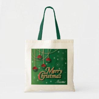 Feliz Natal verde-claro Bolsas De Lona