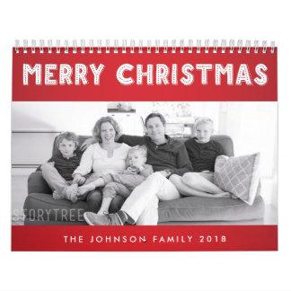 Feliz Natal vermelho 2018 calendários