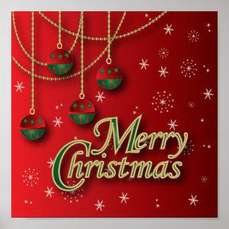 Feliz Natal vermelho brilhante Pôsteres