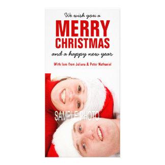 Feliz Natal vermelho corajoso do casal do modelo d Cartão Com Foto