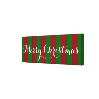 Feliz Natal vermelho e listra verde Impressão Em Canvas