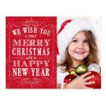 Feliz Natal vermelho, foto do feliz ano novo Cartao Postal
