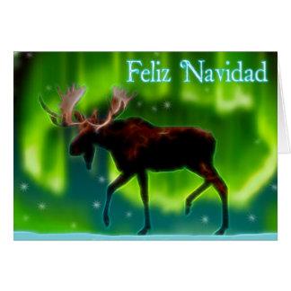 Feliz Navidad - alce da aurora boreal Cartoes