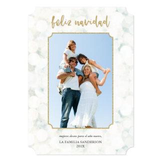 Feliz Navidad Blanco y Oro Foto Moderna Convite 12.7 X 17.78cm